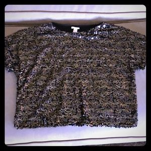 NEW H&M Short Sleeved Sequined Top